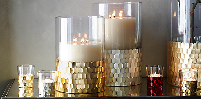 Faceted Metallic Candleholder Collection Rh