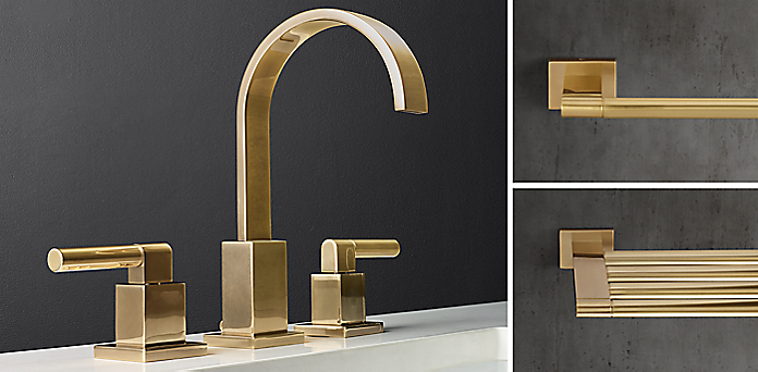 Modern Collection  in Aged Brass. Faucets  Fittings   Hardware Collections   RH