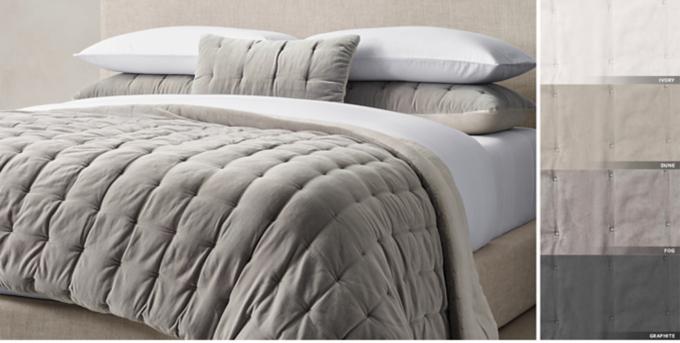 Velvet U0026 Linen Tufted Quilt U0026 Sham Free Shipping