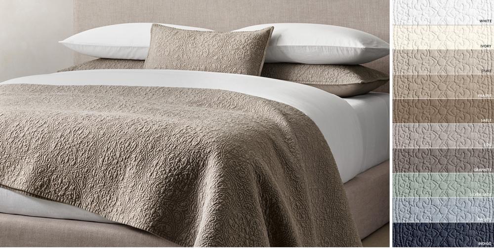 Quilts & Coverlets | RH : beige quilt - Adamdwight.com