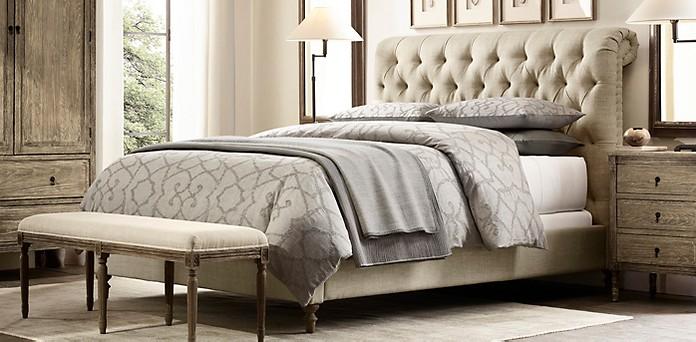 Chesterfield Fabric Sleigh Beds Restoration Hardware