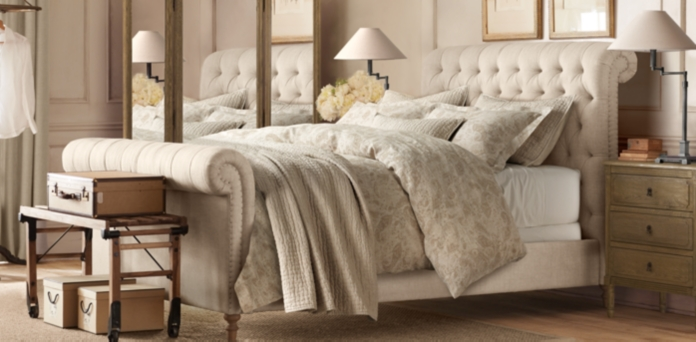Chesterfield Fabric Sleigh Beds