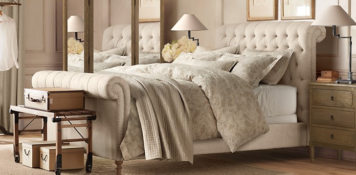 Chesterfield fabric sleigh beds restoration hardware - Restoration hardware bedroom furniture ...