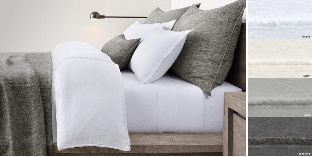 Linen Frayed Edge Bedding Collection Free Shipping