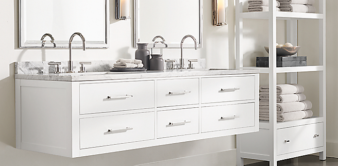 Hutton Floating Vanity Bath Collection White Polished Nickel Rh