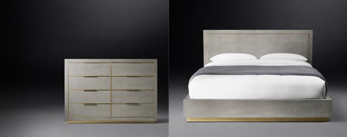 platform bed shown in fog shagreen u0026 solid burnished brass