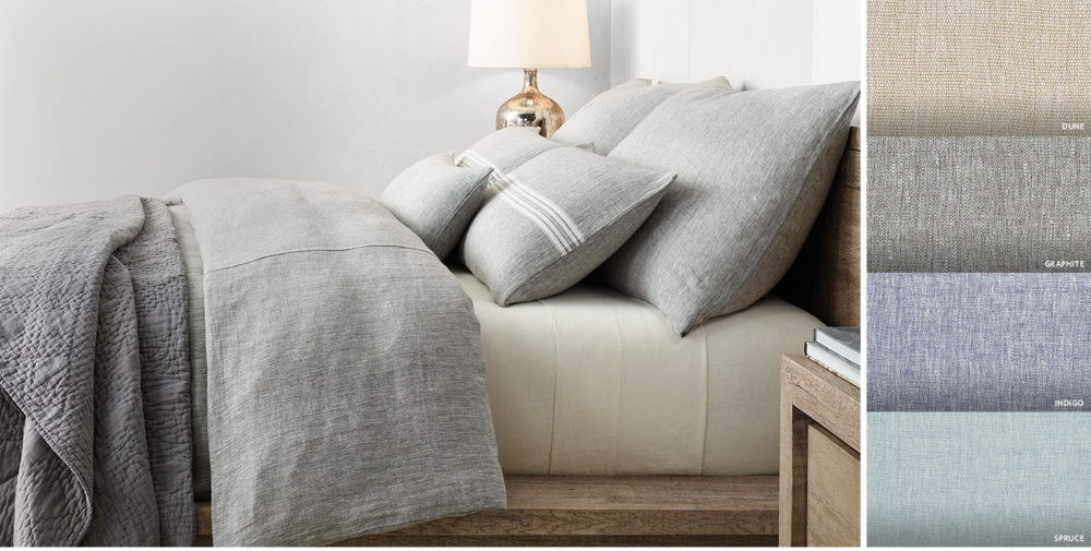 woven linen chambray bedding collection free shipping - Restoration Hardware Bedding