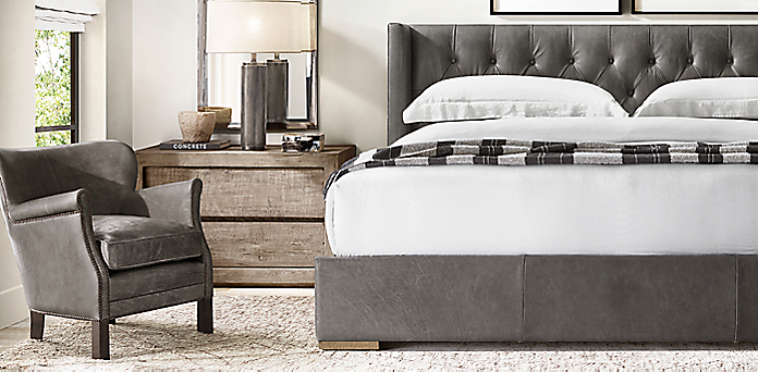 Astonishing Leather Bed Collections Rh Creativecarmelina Interior Chair Design Creativecarmelinacom