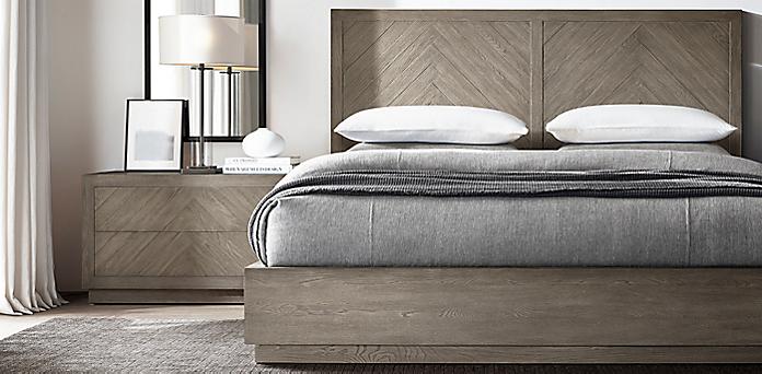 Restoration Hardware Bedrooms Herringbone Bedroom Collection  Weathered Grey Oak  Rh