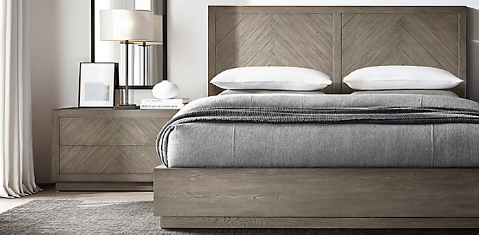 Herringbone Bedroom Collection - Weathered Grey Oak | RH
