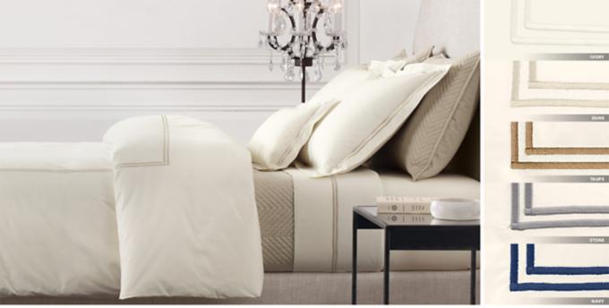 Italian Hotel Satin Stitch Ivory Bedding Collection Free Shipping & Hotel Bedding | RH