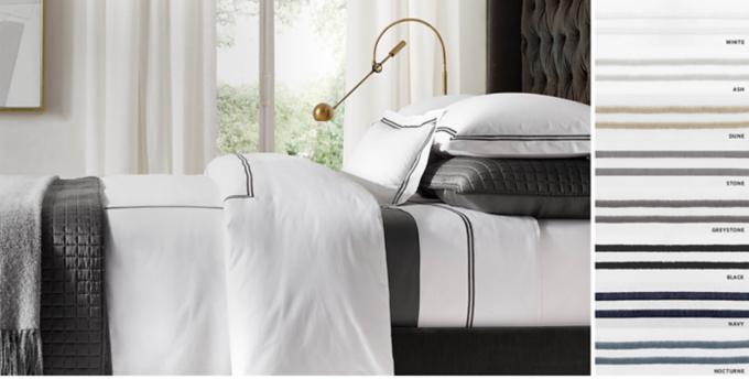 Italian Hotel Satin Stitch White Bedding Collection Free Shipping & Hotel Bedding | RH