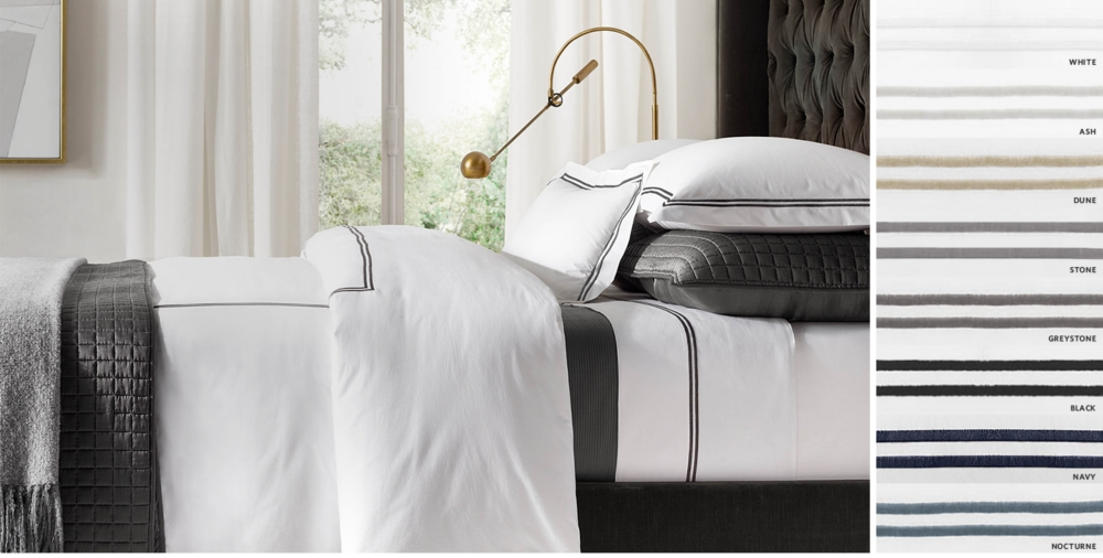 italian hotel satin stitch white bedding collection free shipping - Navy Bedding