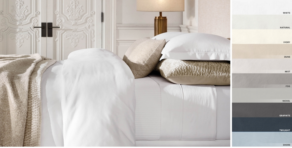 Italian Vintage Washed 600 Thread Count Sa Bedding Collection Free Shipping Shown In White