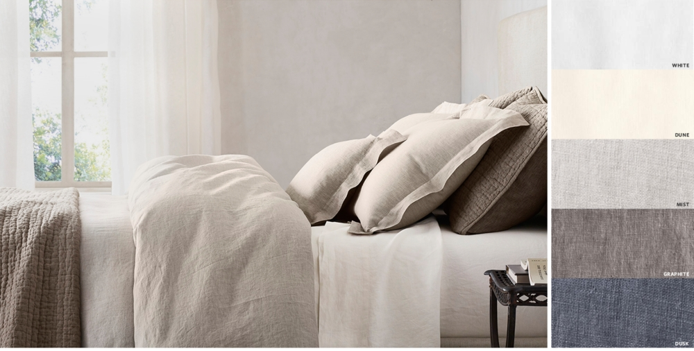 Vintage Washed Belgian Linen Bedding Collection Free Shipping