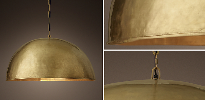 Grand Brass Dome Collection - Kitchen & Utility Pendants RH