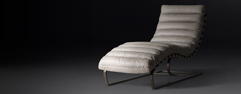 Phenomenal Oviedo Leather Chaise Bronze Rh Modern Creativecarmelina Interior Chair Design Creativecarmelinacom