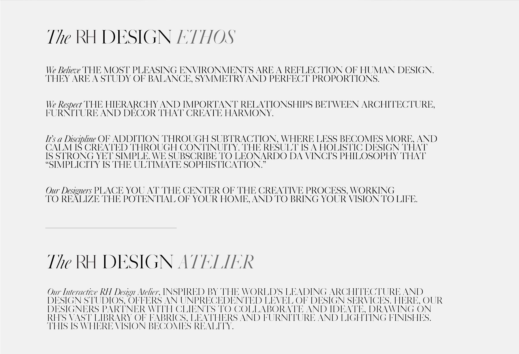 The RH Design Ethos and The RH Design Atelier