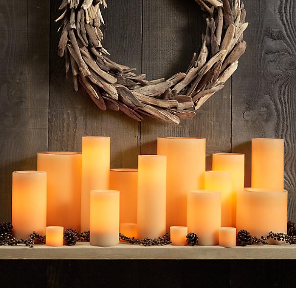 Ivory Wax Flameless Pillar Candles
