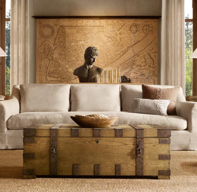 Belgian Roll Arm Slipcovered Sofa