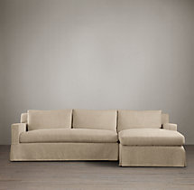 Preconfigured Belgian Track Arm Slipcovered Right-Arm Chaise Sectional