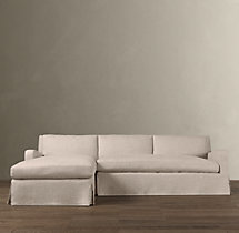 Preconfigured Belgian Slope Arm Slipcovered Left-Arm Chaise Sectional