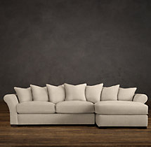 Camelback Upholstered Right-Arm Chaise Sectional