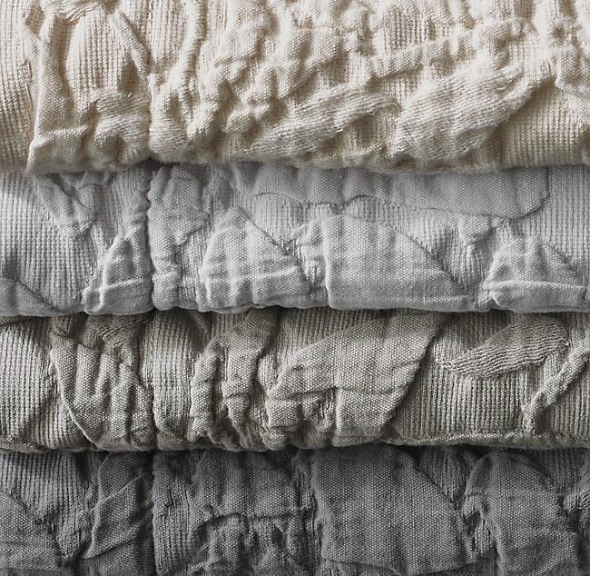 Botanical Matelassé Washed Cotton-Linen Coverlet Swatch