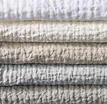 Vintage-Washed Linen Channel-Quilted Coverlet Swatch