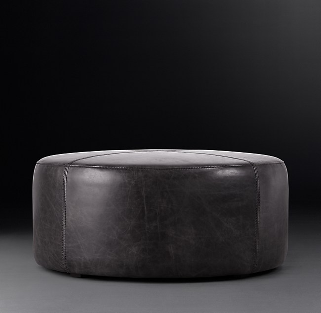 Stupendous 36 Cooper Leather Round Ottoman Ncnpc Chair Design For Home Ncnpcorg