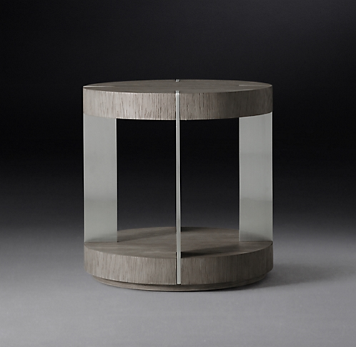 Verrazano Round Collection Grey Oak Brushed Pewter Rh Modern