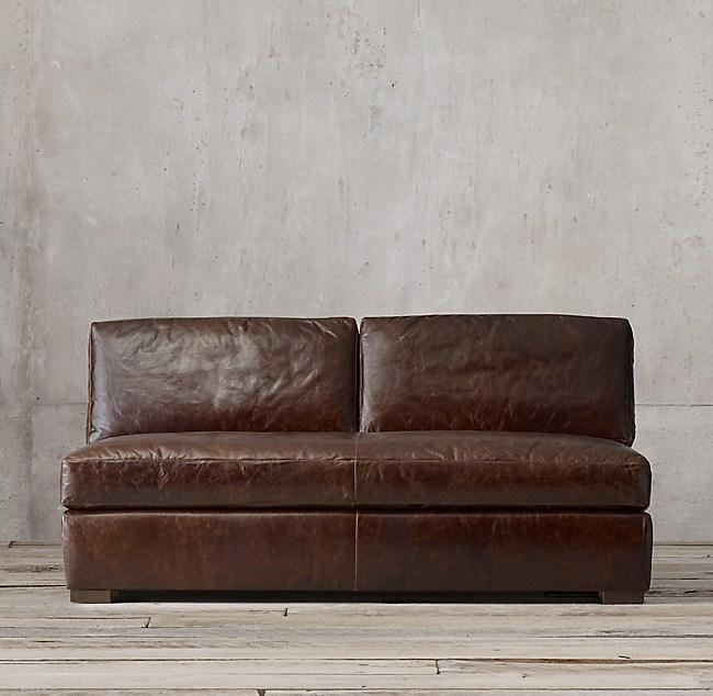 Lancaster Leather Armless Sofa