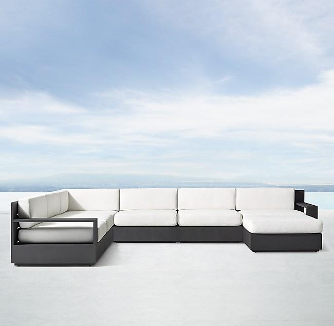 Aluminum Luxe Modular U Sofa Chaise Sectional