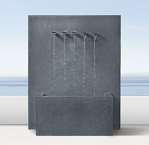 Weathered Zinc Wall Fountain 5 Spout