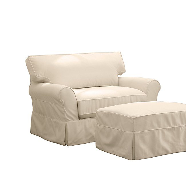 grand scale roll arm slipcovered loose fit chair and a half