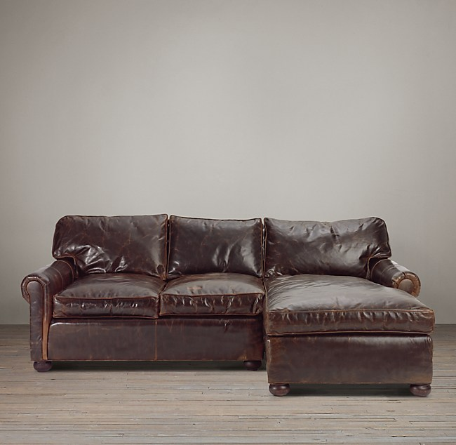 Original Lancaster Leather Right Arm Chaise Sectional