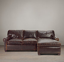 Lancaster Leather Right-Arm Chaise Sectional