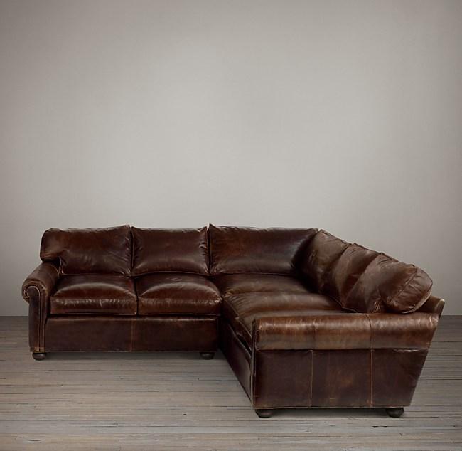 Original Lancaster Leather Corner Sectional