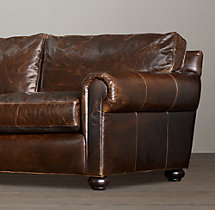 "96"" Original Lancaster Leather Sleeper Sofa"