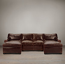 Preconfigured Classic Lancaster Leather U-Chaise Sectional