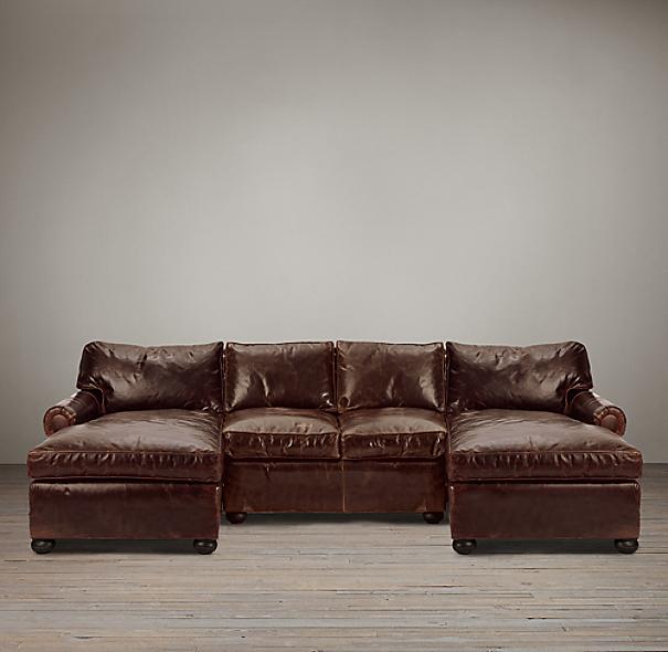 Preconfigured Original Lancaster Leather U Chaise Sectional