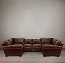 Preconfigured Classic Lancaster Leather U-Sofa Sectional