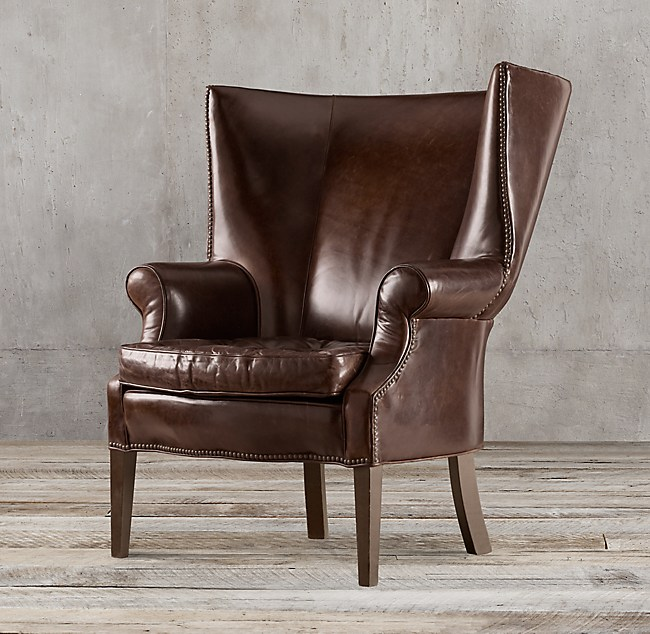 Drake Leather Wingback Chair