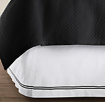 Italian Hotel Satin Stitch White Bed Skirt