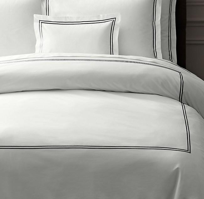 Italian Hotel Satin Stitch White Duvet Cover