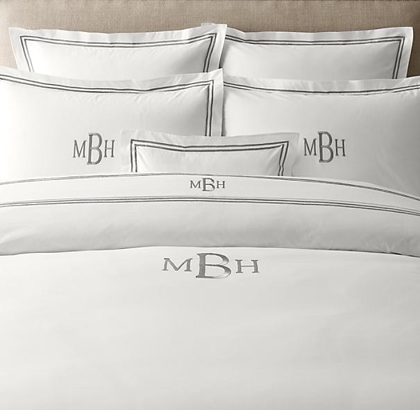 Italian hotel satin stitch white duvet cover for Duvet covers restoration hardware