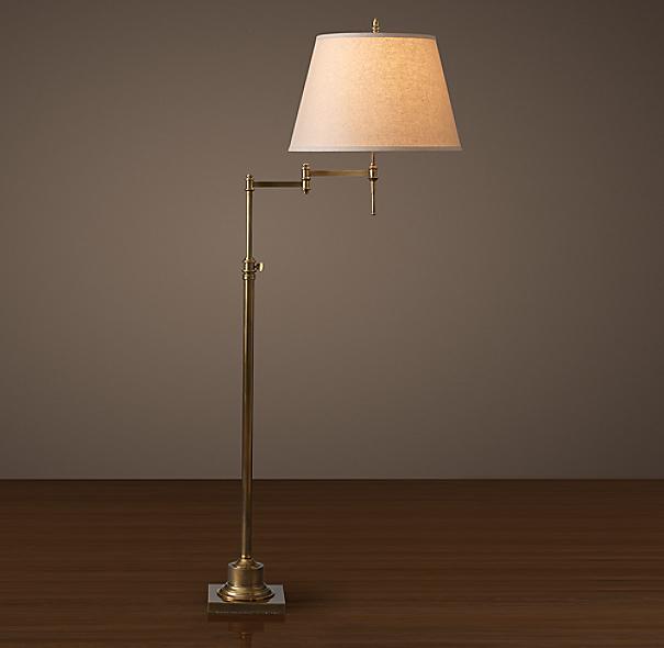 library swing arm floor lamp antique brass. Black Bedroom Furniture Sets. Home Design Ideas