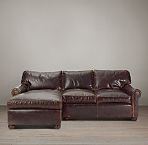 Preconfigured Classic Lancaster Leather Left-Arm Chaise Sectional