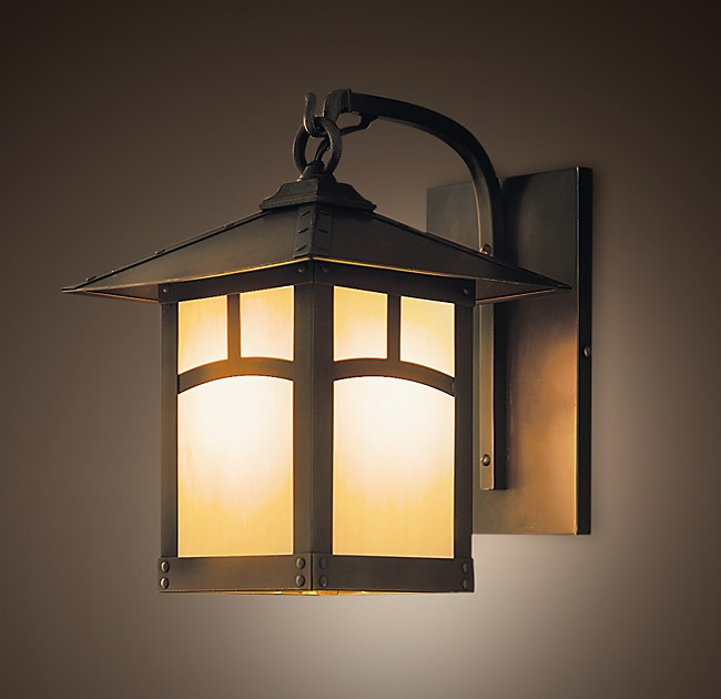 Brass Outdoor Garage Lights: Madera Lantern Sconce