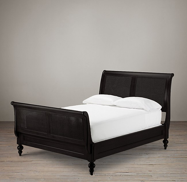British Cane Sleigh Bed